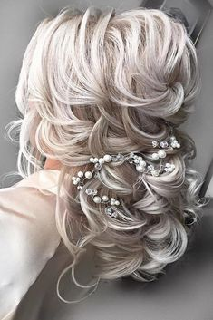 Hochzeitsfrisur Inspiration – Elstile (El Style New Site - Haare Stylen Wedding Hairstyles For Medium Hair, Bride Hairstyles, Down Hairstyles, Hairstyle Wedding, Updo Hairstyle, Hairstyle Ideas, Bridesmaid Hairstyles, Hair Ideas, Vintage Hairstyles