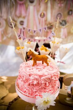 Pony Themed Birthday Party - I love the new Cake trend with the flags and simple designs, it makes it elegant even at a horse ranch