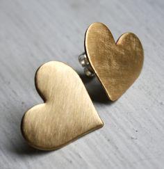 Large Brass Heart Studs  by Rachel Pfeffer    Brass heart studs, sterling silver posts.