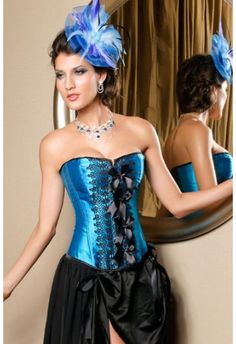 Front Embroidery and Bow Blue Corset