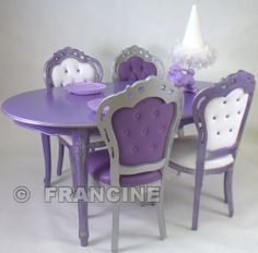 Purple table & chairs in minature.