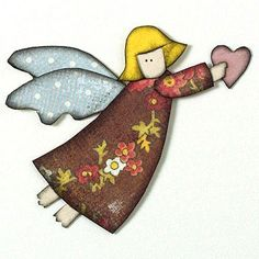Design by Christina Cole Craft a cute holiday angel from pretty patterned papers. Ink the edges of each shape to distinguish them.  SOURCES: Cardstock: Bazzill Basics Paper. Patterned paper: My Mind's Eye (blue), Daisy D's Paper Co. (red). Ink: ColorBox by Clearsnap./