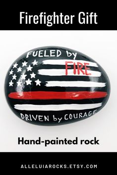 This painted rock honors a Firefighter for all he or she does to protect all of us! It features the Thin Red LIne. #firefighterappreciation #firefightergift #paintedrock #paperweights Hand Painted Rocks, Painted Stones, Stone Painting, Rock Painting, Story Stones, Firefighter Gifts, Christian Families, Wreath Crafts, Christian Gifts