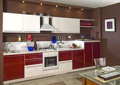 Кухня из пластика бело-красная на заказ в Минске