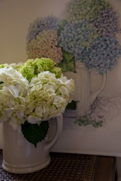 My mother gave me this beautiful ironstone pitcher years ago and it inspired me to create the painting of hydrangeas behind it.  As you can see, I still fill it with hydrangeas.
