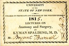 1851 class card University of the State of New York College of Physicians and Surgeons of the Western District Lectures on Anatomy and Surgery by Lyman Spalding, M.D.
