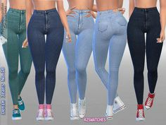 Sims 4 Updates: TSR - Clothing, Female : Denim Jeans No.10 by Pinkzombiecupcakes, Custom Content Download!