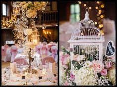 rustic shabby chic bird cage centrepieces - tall cherry blossom flower trees and low candlelit bird cages bursting with flowers, from wedding reception at Great Fosters in Surrey. Barn wedding flowers centrepieces. Rustic wedding centrepieces.