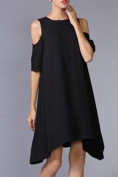 She's Black Asymmetric Hem Cold Shoulder Dress | Knee Length Dresses at DEZZAL