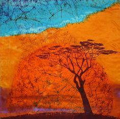 Batik Seide Schal Farbe von Hand orange blau Frauen