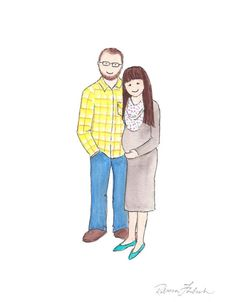 Custom Watercolor Couples Portrait by Reebeky on Etsy
