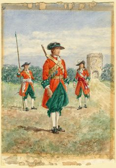 British; Queen Dowager's Regiment of Foote, 1686 by Reginald Augustus Wymer. Became 2nd Regiment of Foot and eventually Queen;s Royal West Surrey Regiment