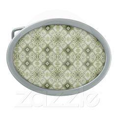 Subtle Decorative Pattern Bucket Belt Oval Belt Buckle from Zazzle.com    decorative , design , pattern , green , soft , seamless , symmetric , retail , decoration , diamonds , diamond