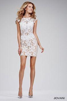 Sexy Short White Jeweled Dress 26739