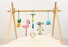 Handmade Baby play gym Tropical Adventure. Flamingo, Pineapple, Monkey, Whale, Palm tree. Activity baby center. Wooden baby gym frame and crochet baby gym toys. Handmade in eastern Europe.