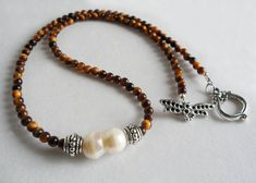 Freshwater Pearl Necklace /  Tiger's Eye Necklace / Boho Necklace on Etsy, $30.00