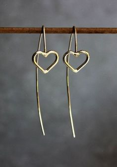 Silver heart earrings Long drop earrings Sterling silver wire earrings Minimalist earrings.