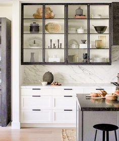 Glass kitchen cabinets - Mashup Monday 5 22 Inspired Ways To Use Industrial Black Steel and Glass – Glass kitchen cabinets Steel Kitchen Cabinets, Dark Wood Cabinets, Open Cabinets, Steel Cabinet, Glass Shelves Kitchen, Kitchen Fixtures, Kitchen Utensils, Glass Cabinet Doors, Cabinet Decor
