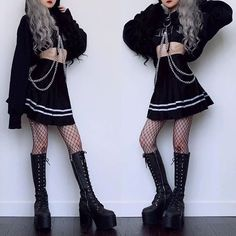 Wearing the coolest cropped hoodie from 🔪 Even though it's very cropped, the material is really soft and thick. Ulzzang Fashion, Harajuku Fashion, Kawaii Fashion, Cute Fashion, Korean Fashion, Edgy Outfits, Korean Outfits, Grunge Outfits, Girl Outfits