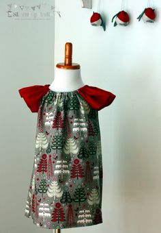 Christmas peasant dress flutter sleeves red. Girls Christmas dress Girls peasant dress Christmas dress . Ready to ship Size 2T - pinned by pin4etsy.com