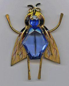 1940's Coro Sterling Enamel Blue Belly Rhinestone Fly Bee Insect Brooch Pin | eBay