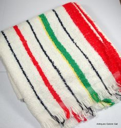Vintage Terry Cloth Dish Towel Tea Towel by AntiquesGaloreGal Dish Towels, Tea Towels, Retro Kitchen Decor, Black N Yellow, Stripes, Dishes, Blanket, Red, Pattern