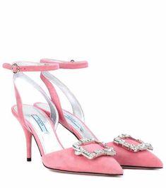 Embellished suede pumps | Prada