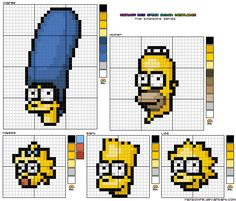 The Simpsons Cross Stitch design template which I've quickly thrown together including Marge, Homer, Maggie, Lisa & Bart All my cross stitch templates are free to use, no link back to me i. Cross Stitch Boards, Mini Cross Stitch, Beaded Cross Stitch, Cross Stitch Embroidery, Art Minecraft, Minecraft Crafts, Skins Minecraft, Cross Stitch Designs, Cross Stitch Patterns