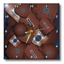 3dRose - Jos Fauxtographee Abstract  - Symbols and Shapes on Blue - Wall Clocks