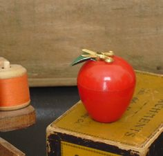 Sold. Vintage Red Plastic Apple Needle and Pin Holder, Adorned with Scissors, Pin Caddy, Needle and Pin Storage Container, Sewing Pin Holder by AgsVintageCove on Etsy