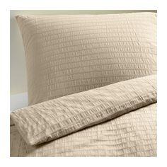 OFELIA VASS Duvet cover and pillowcase(s) - beige, Full/Queen (Double/Queen) - IKEA