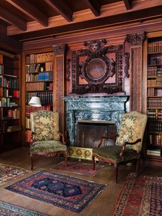 The Homestead - Wadsworth Mansion, Geneseo, NY.  The tapestry chairs, originally in the rose drawing room, have a new home in the library.