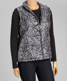 Another great find on #zulily! Pewter Metallic Puffer Vest - Plus #zulilyfinds