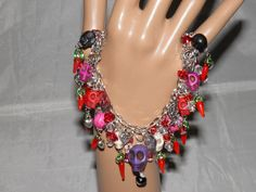 Day of the Dead Bracelet Turquoise Sugar Skull Jewelry Frida Kahlo Inspired No.1 in Series Goth Rockabilly Jewelry Steampunk OOAK. $39.99, via Etsy.