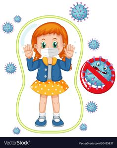 Coronavirus poster design with girl wearing mask vector image on VectorStock Mask Design, Design Art, Design Ideas, Hand Washing Poster, School Cartoon, Cartoon Girls, Kids Background, Cute Coloring Pages, Sewing Patterns Free