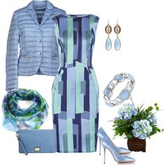 Ice blue with a little green by armband on Polyvore featuring мода, Lela Rose, Allegri Milano, Charlotte Olympia, Marc B, 1928, Devon Leigh and Yuh Okano