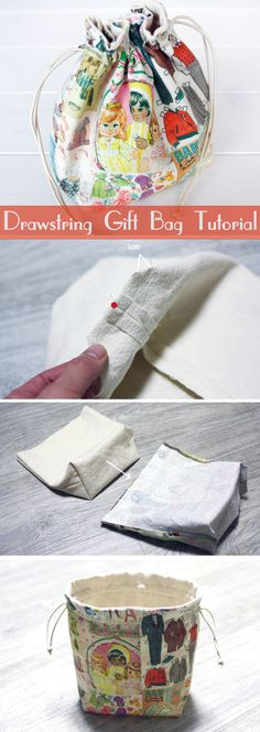 Small Lined Drawstring Fabric Gift Bag. Pattern + DIY Tutorial in Pictures.   http://www.handmadiya.com/2015/11/drawstring-fabric-gift-bag-tutorial.html
