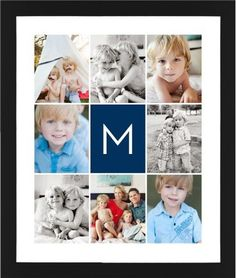 Gallery Monogram Framed Print, Black, Contemporary, None, White, Single piece, 16 x 20 inches, Blue