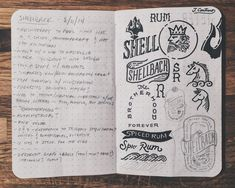 I was going through some old sketchbooks trying to find something and came across this spread from a 2014 label design for Shellback Rum that I really liked. I don't even know if I'm allowed to share the final from this one (I'm going to look into it because I really liked the finished piece.) The notes and doodles always please me more than anything though. This right here is the reason I find it so hard to go strictly digital. It's the same feeling as going through old photo albums. #continosk Label Design, Moleskine, Sketchbooks, Old Photos, Rum, Doodles, Sketches, Branding, Lettering