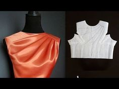 How to cut and sew cowl neck shoulder pleats gather (EASY) Kids Blouse Designs, Saree Blouse Neck Designs, Dress Neck Designs, Neckline Designs, Collar Designs, Neck Designs For Suits, Sleeves Designs For Dresses, Skirt Patterns Sewing, Pattern Sewing
