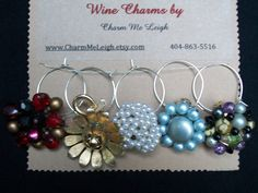 Vintage cluster clip on earring wine glass charms by CharmMeLeigh, $14.00
