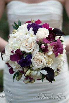 BB0638-Shades of Purple and Ivory Bridal Bouquet