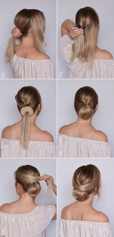 What's the Difference Between a Bun and a Chignon? - How to Do a Chignon Bun – Easy Chignon Hair Tutorial - The Trending Hairstyle Low Bun Tutorials, Braid Hair Tutorials, Short Hairstyle Tutorial, Hair Tutorials For Medium Hair, Makeup Tutorials, Medium Hair Styles, Curly Hair Styles, Hair Medium, Hair Styles Work