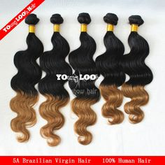 Hot 2014 New Star colored two tone hair weave 3pcs ombre body wave brazilian virgin hair weave T#6 unprocessed human virgin hair $143.50 - 178.00