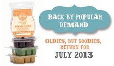 Back by popular demand.  Oldies but goodies return for July 2013.  Shop Scentsy Bring Back My Bar