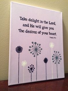 Hand-painted bible verse canvas art. Bible verse and purple flower wall art to…