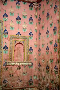 pink patterned wall