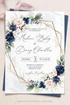 Wedding Invitation Format, Free Wedding Invitation Templates, Wedding Invitation Background, Blush Wedding Invitations, Invitation Suite, Wedding Paper, Wedding Cards, Navy Blue And Gold Wedding, Geometric Wedding