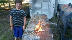 My sons first fire with a ferro rod.