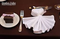 napkins floded and tied with lace - Google Search